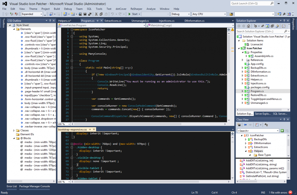 Visual Studio 2012 with the 2010 theme and patched icons